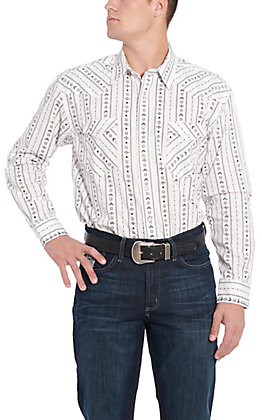 Rough Stock by Panhandle White Aztec Print Western Shirt