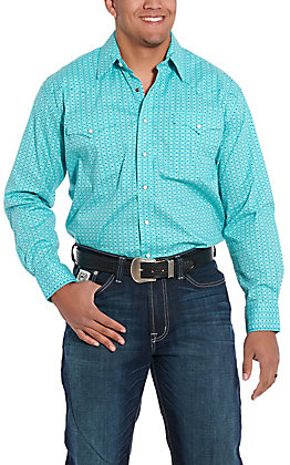 Rough Stock by Panhandle Turquoise Geo Print Western Shirt