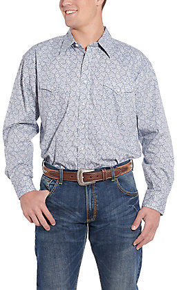 Rough Stock by Panhandle Light Grey Print Western Shirt