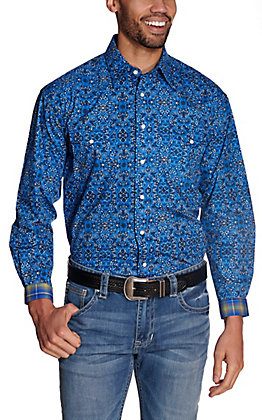 Panhandle Rough Stock Men's Blue with White & Black Medallion Print Long Sleeve Western Shirt