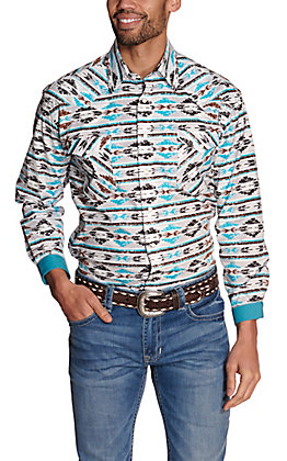 Panhandle Rough Stock Men's White with Turquoise and Brown Aztec Stretch Long Sleeve Western Shirt