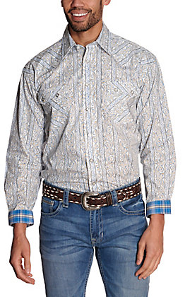 Panhandle Rough Stock Men's White with Blue & Tan Paisley Stripes Long Sleeve Western Shirt