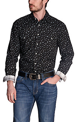 Panhandle Rough Stock Men's Black with White Multi-Geo Print Stretch Long Sleeve Western Shirt