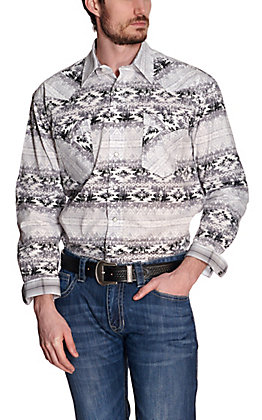 Panhandle Rough Stock Men's White with Black Aztec Stretch Long Sleeve Western Shirt