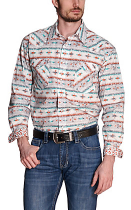 Panhandle Rough Stock Men's White with Turquoise and Orange Aztec Stretch Long Sleeve Western Shirt