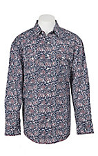 Panhandle Rough Stock Men's Red, White and Blue Aztec Print L/S Western Snap Shirt