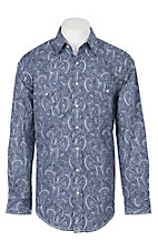 Panhandle Rough Stock Men's Blue and White Paisley Print L/S Western Snap Shirt