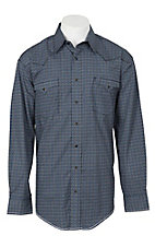 Panhandle Rough Stock Men's Navy Geo Clover Print L/S Western Snap Shirt