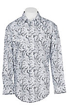 Panhandle Rough Stock Men's White and Black Paisley Print L/S Western Snap Shirt