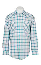 Panhandle Rough Stock Men's White and Blue Plaid L/S Western Snap Shirt