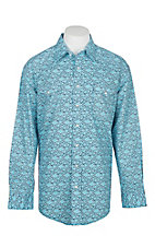 Panhandle Rough Stock Men's Light Blue and Grey Geo Print L/S Western Snap Shirt