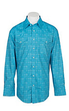 Panhandle Rough Stock Men's Blue Square Print L/S Western Snap Shirt