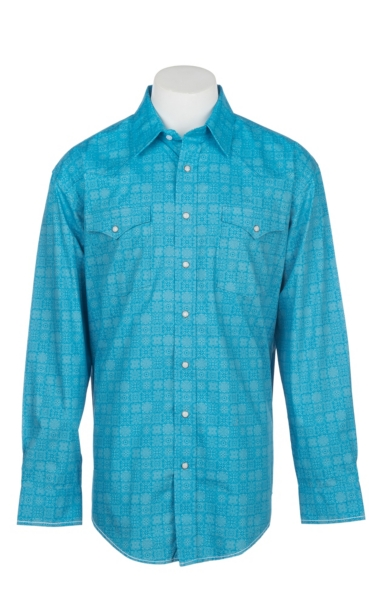 Hot Panhandle Rough Stock Men's Blue Square Print L/S Western Snap Shirt