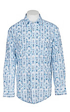 Panhandle Rough Stock Men's White and Vintage Blue Aztec L/S Western Snap Shirt