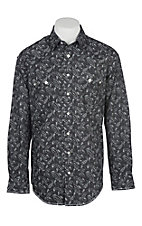 Panhandle Rough Stock Men's Black and Grey Paisley Print L/S Western Snap Shirt
