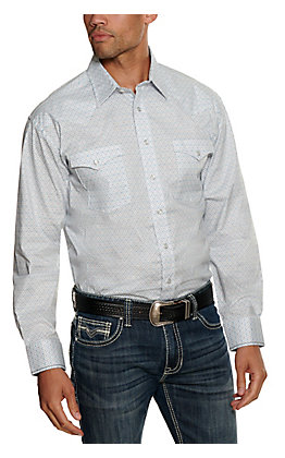 Panhandle Rough Stock Men's White Geo Print Stretch Long Sleeve Western Shirt
