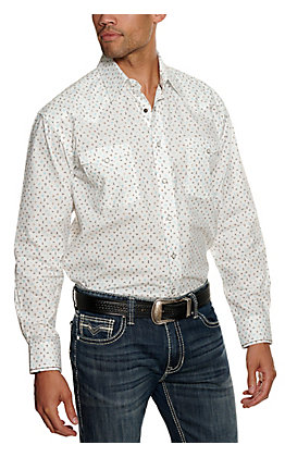 Panhandle Rough Stock Men's White Southwest Print Long Sleeve Western Shirt