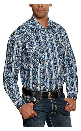 Panhandle Rough Stock Men's Blue Paisley Long Sleeve Western Shirt