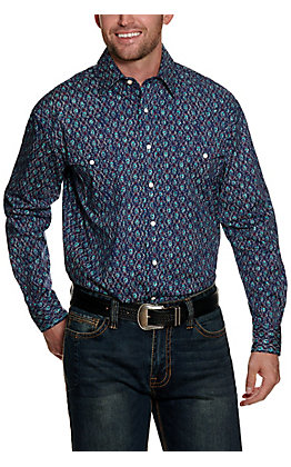 Panhandle Rough Stock Men's Blue Geo Print Stretch Long Sleeve Western Shirt