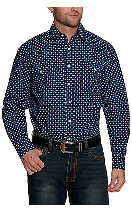 Panhandle Rough Stock Men's Blue with White Geo Print Long Sleeve Western Shirt
