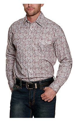 Panhandle Rough Stock Men's Silver and Burgundy Paisley Print Long Sleeve Western Shirt