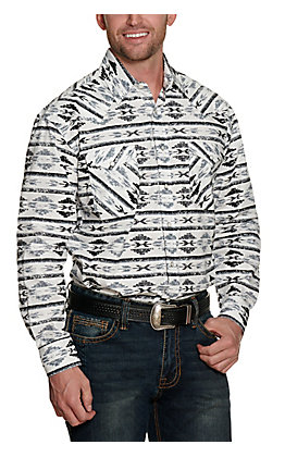 Panhandle Rough Stock Men's White with Black and Grey Aztec Print Long Sleeve Western Shirt