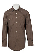 Panhandle Rough Stock Men's Brown Geo Print Western Snap Shirt