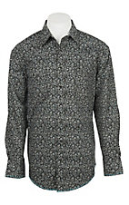 Panhandle Men's Charcoal Rough Stock Paisley Print Western Shirt