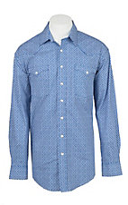 Panhandle Men's Royal Blue Rough Stock Aztec Print Western Fashion Shirt