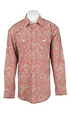 Panhandle Men's Red, Brown, and White Paisley Print Long Sleeve Western Snap Shirt