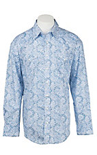 Panhandle Men's Blue and White Vintage Print Western Snap Shirt