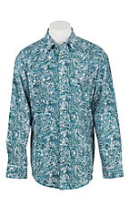 Panhandle Men's Blue, Green, and White Paisley Print Long Sleeve Western Snap Shirt