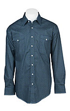 Panhandle Men's Blue Rough Stock Vinta Stretch Print Western Shirt