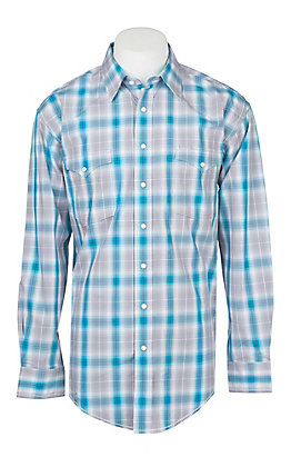 Rough Stock by Panhandle Men's Ombre Plaid Stretch Print Western Shirt