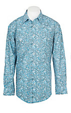 Panhandle Men's Paisley Rough Stock Stretch Print Western Shirt