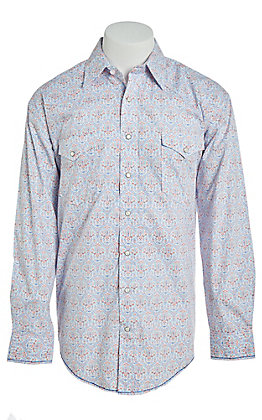 Rough Stock by Panhandle White Medallion Print Long Sleeve Western Shirt
