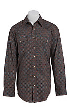 Rough Stock by Panhandle Men's Brown Aztec Paisley Print Western Shirt
