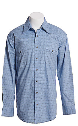 Rough Stock by Panhandle Men's Blue Long Sleeve Medallion Print Western Shirt