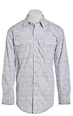 Rough Stock by Panhandle Grey Aztec Stripe Print Western Shirt