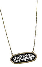 Black and Gold Wide Pointed Oval Necklace