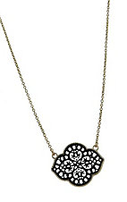 Black and Gold Cutout Charm Necklace