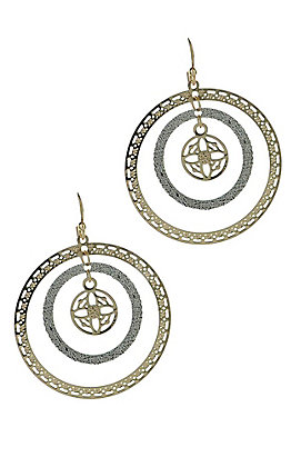 Silver and Gold Triple Circle Earrings