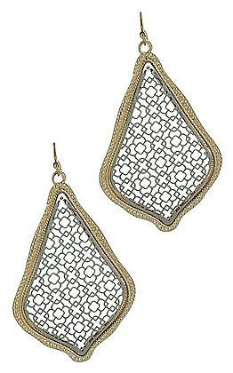 Silver and Gold Lattice Teardrop Earrings