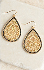 Gold with Black Outline Teardrop Earrings