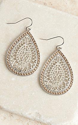 Silver and Gold Teardrop Medallion Earrings