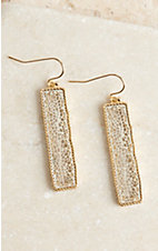 Silver and Gold Rectangle Drop Earrings