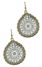 Silver and Gold Cutout Medallion Earrings