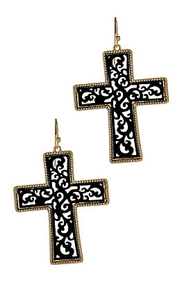 Black and Gold Cross Earings