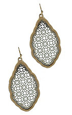 Silver with Gold Outline Teardrop Earrings
