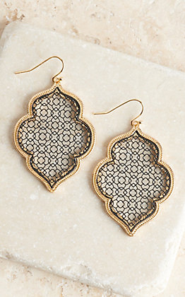 Black Outline with Gold Trim Drop Earrings